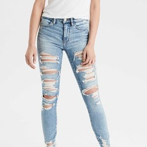 Blue american eagle skinny ripped jeans